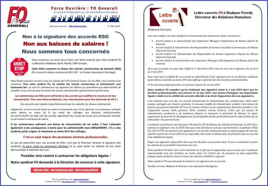 Tract FO Generali : Non aux baisses de rémunération dans le réseau salarié ! dans 1 - Revendications tract-fo-generali-01-05-19