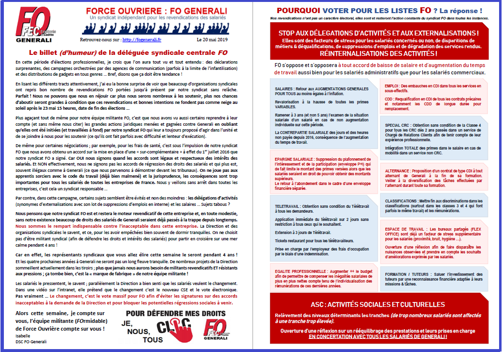 Tract FO Generali : Billet d'humeur de la DSC FO - Revendications FO  dans 1 - Revendications tract-fo-generali-billet-revendication-20-05-19