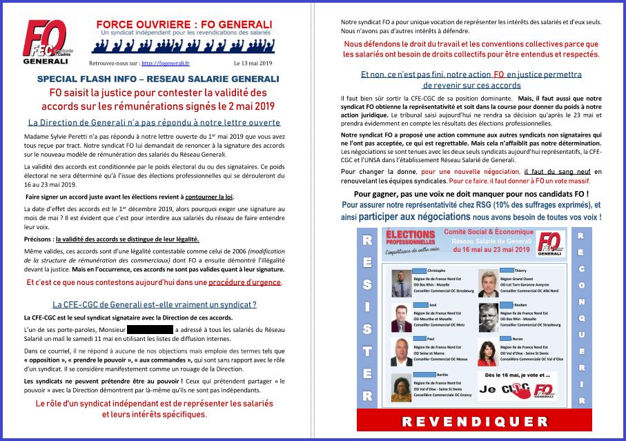Tract FO Generali : FO saisit la justice pour contester la validité des accords RSG sur les rémunérations  dans 1 - Revendications tract-fo-generali-rsg-13-05-18