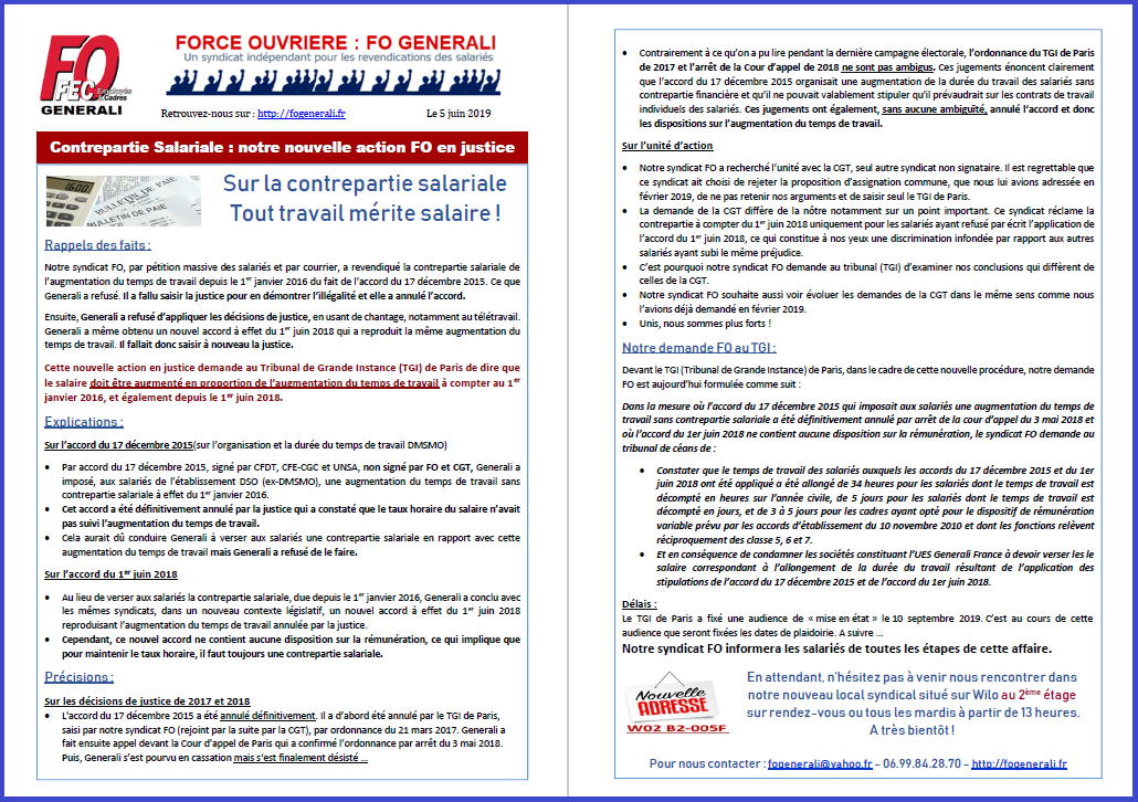Tract FO Generali - Contrepartie Salariale : notre nouvelle action FO en justice  dans 0 - Accord Temps Travail tract-fo-generali-05-06-19