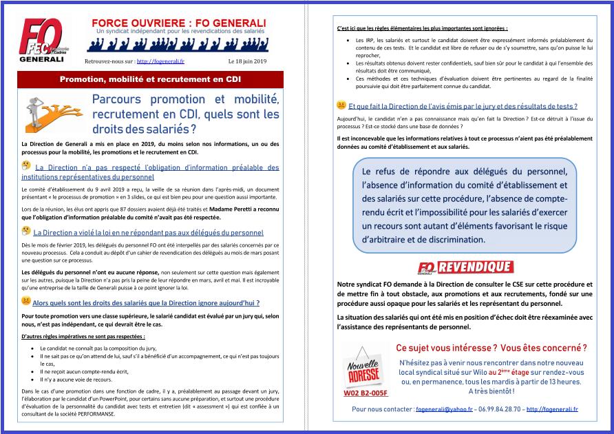 Tract FO Generali - Mobilité, Promotion, Recrutement : les droits des salariés  dans 1 - Revendications tract-fo-generali-18-06-19