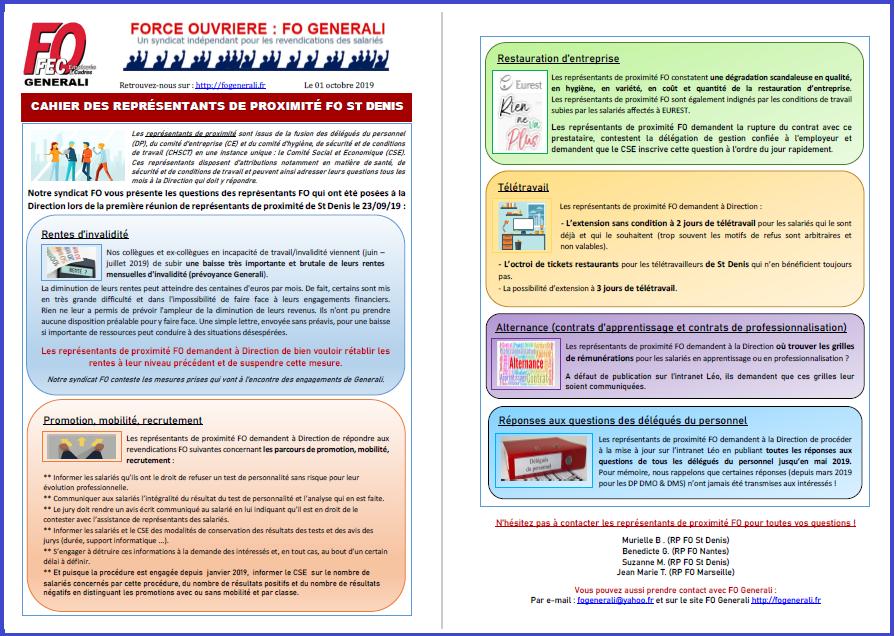 Tract FO Generali - Le 1er cahier des représentants de proximité FO St Denis dans 3 - Tracts tract-fo-01-10-2019