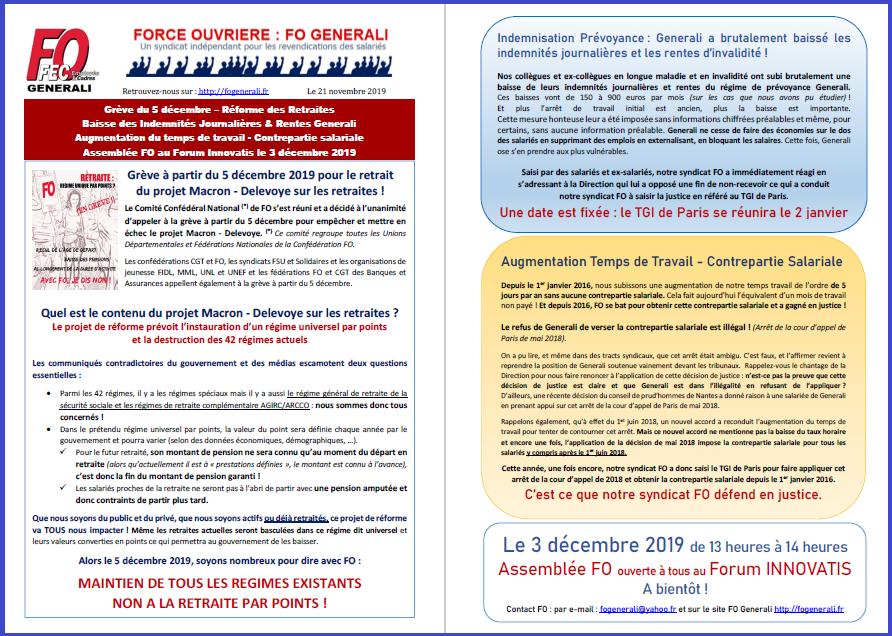 Tract FO Generali - Retraite Grève, Rentes, Salaires, Assemblée FO  dans 0 - Accord Temps Travail tract-fo-21-11-2019