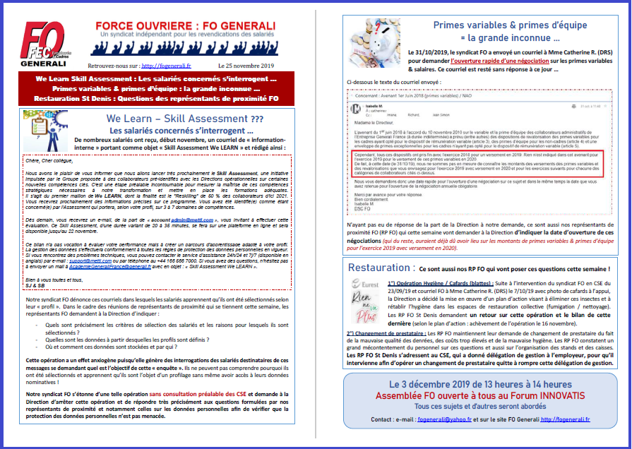 Tract FO Generali - We Learn Skill Assessment, Primes variables, Restauration dans 1 - Revendications tract-fo-25-11-2019