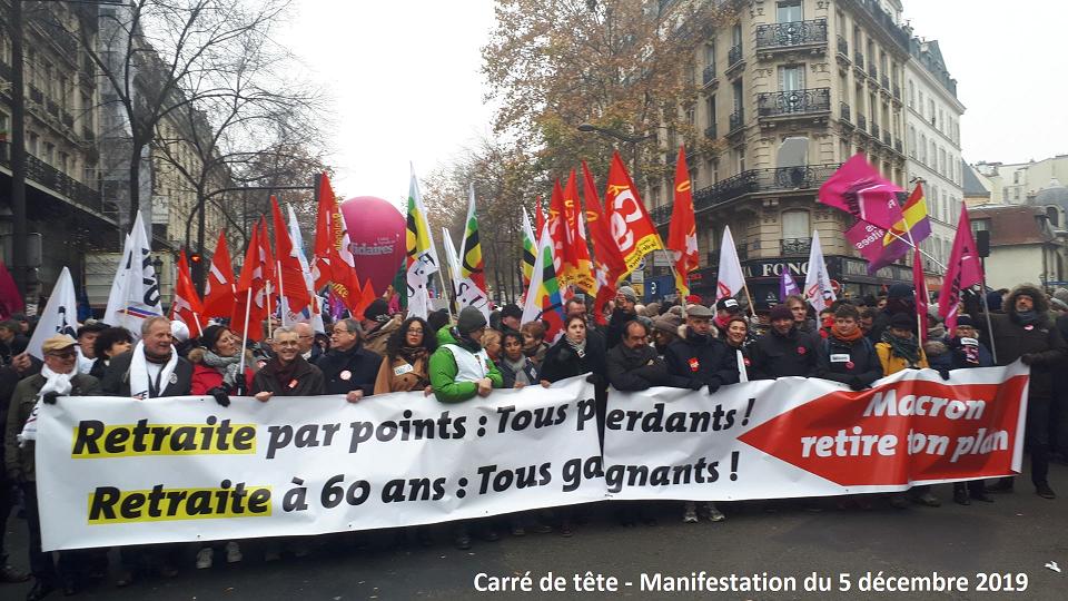 Carré de tête Manif Paris 5 décembre 2019
