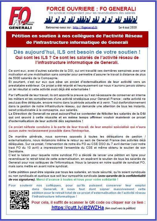 Tract FO Generali - Pétition en soutien à nos collègues du Réseau informatique dans 1 - Revendications tract-fo-generali-04-05-20