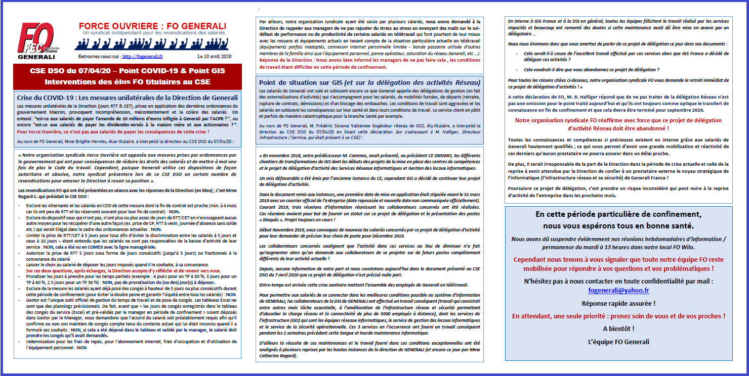 Tract FO Generali - CSE DSO du 07/04/20 – Point COVID-19 & Point GIS dans 1 - Revendications tract-fo-generali-10-04-20