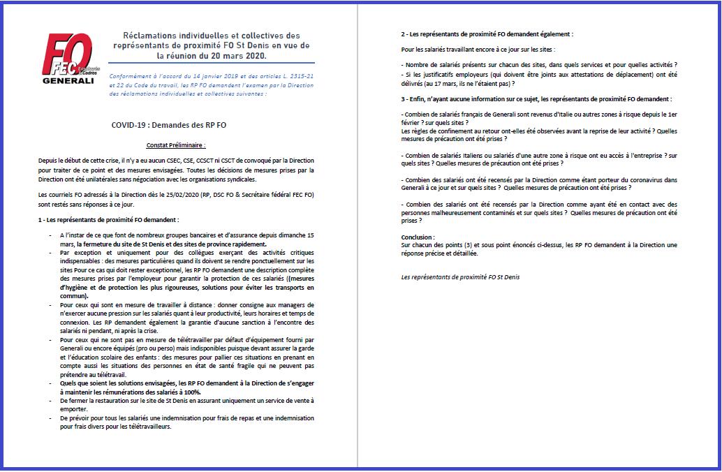 Tract FO Generali - Réclamations des RP FO St Denis Réunion du 20 mars 2020 dans 1 - Revendications tract-fo-generali-18-03-20
