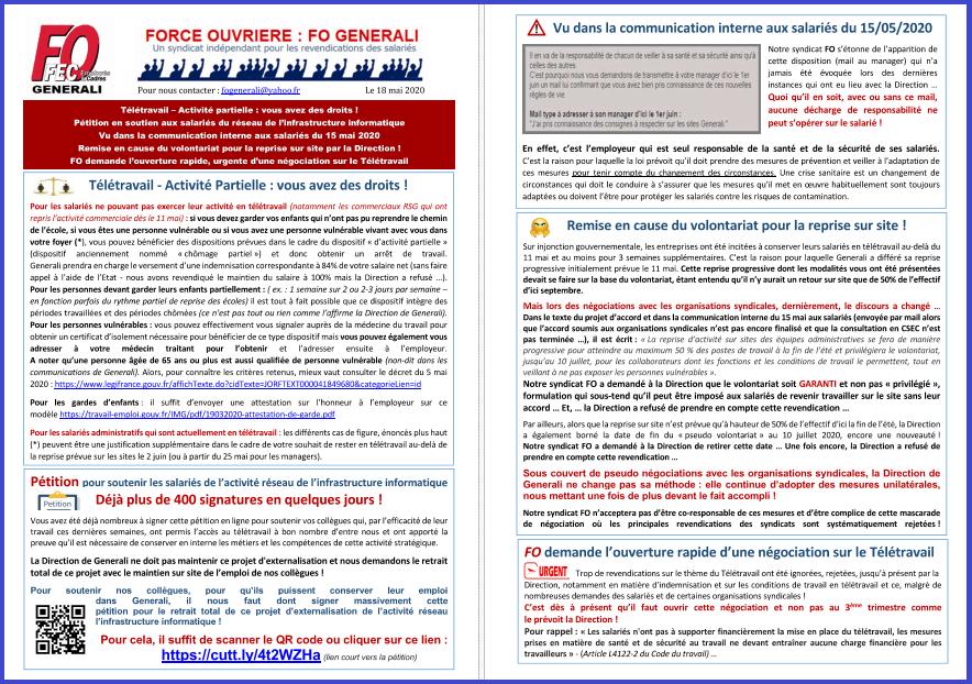 Tract FO Generali - Pétition Télétravail Reprise Sites & Vos droits  dans 1 - Revendications tract-fo-generali-18-05-20