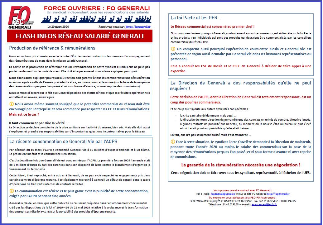 Tract FO Generali - Flash Infos Réseau Salarié Generali Mars dans 01 - Flash Info tract-fo-generali-20-03-20-rsg