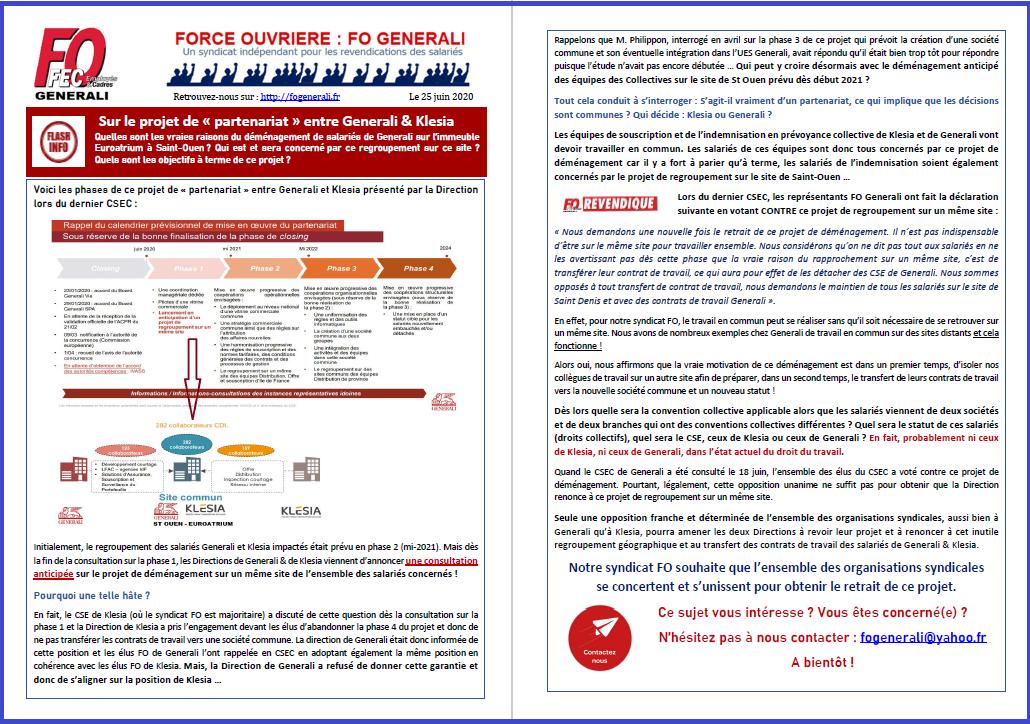 Tract FO Generali - Sur le projet de