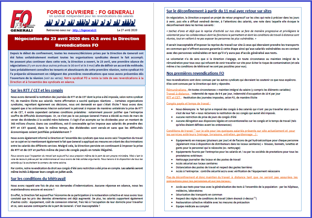 Tract FO Generali - Négociation du 23 avril COVID-19 : Revendications FO dans 1 - Revendications tract-fo-generali-27-04-20