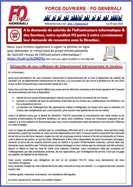 Tract FO Generali - Pétition Réseau informatique & Démarche de nos collègues de la DIS dans 01 - Flash Info tract-fo-generali-29-05-20