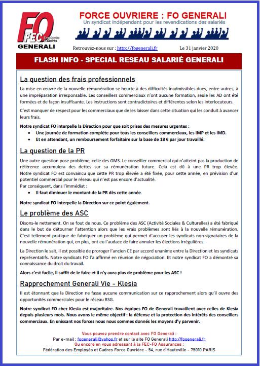 Tract FO Generali - Flash Infos Réseau Salarié Generali Janvier dans 01 - Flash Info tract-fo-generali-31-01-20-rsg